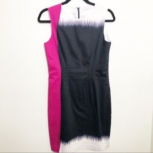 Tahari Patterned Pink Black & White Sheath Dress